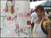 Tina McCallan with her artwork