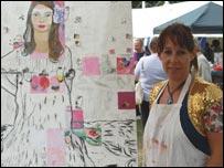 Tina McCallan with her artwork
