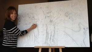 Tina McCallan with drawing of The Martyrdom of St Edmund Members of the public will help recreate The Martyrdom of St Edmund